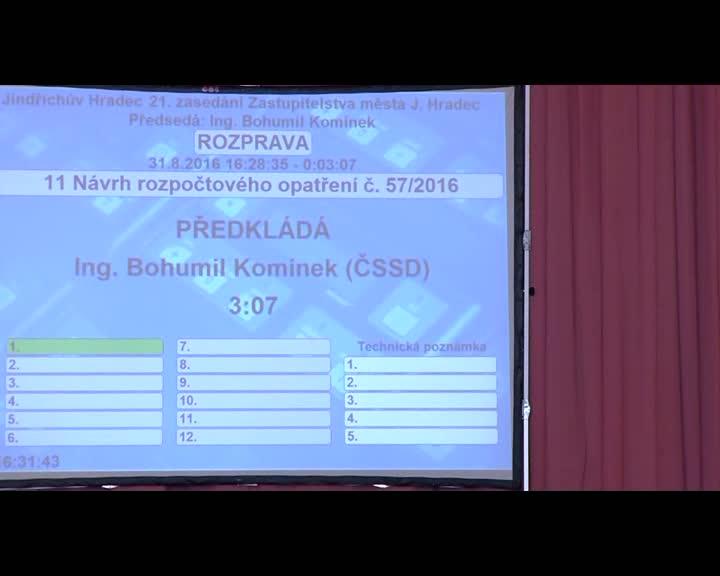 Zasedání zastupitelstva 31.8.2016
