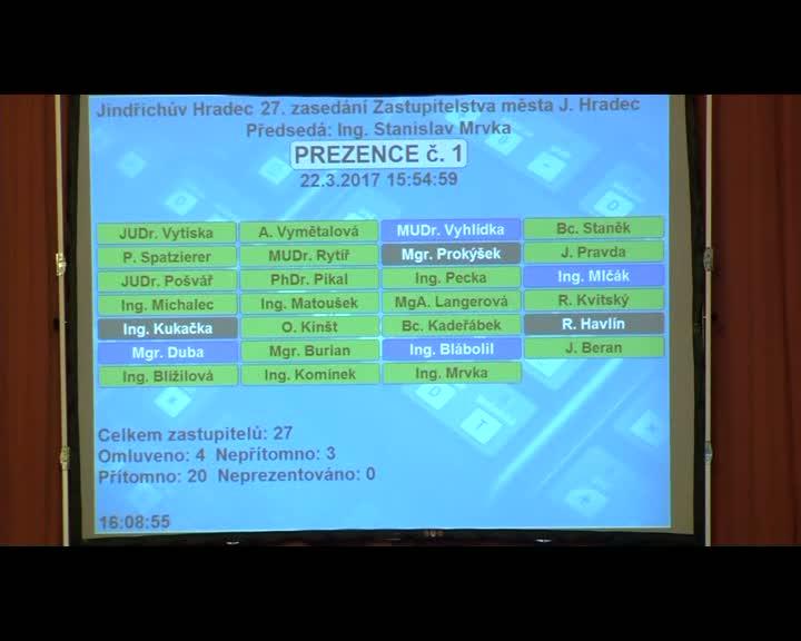 Zasedání zastupitelstva 22.3.2017