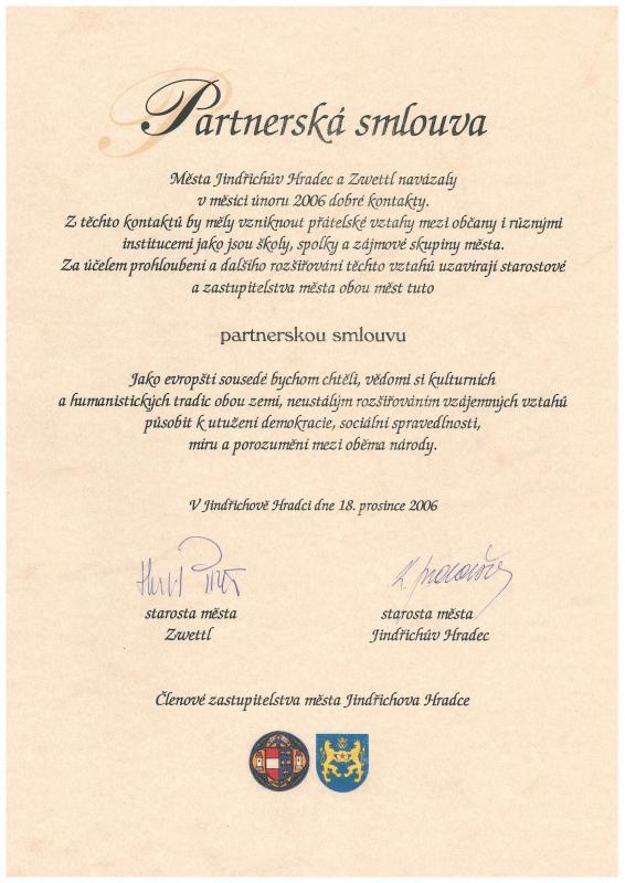 Partnerska smlouva Zwettl, obrázek se otevře v novém okně